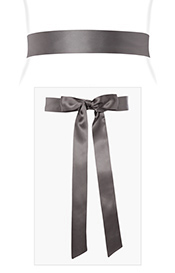 Smooth Satin Sash Long Charcoal