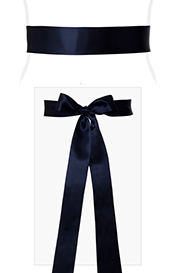 Smooth Satin Sash Long Midnight Blue