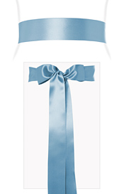 Smooth Satin Sash Long Powder Blue