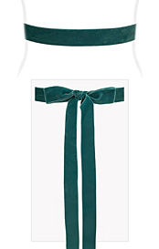 Velvet Ribbon Sash Teal Green