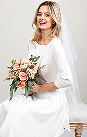 Cut Edge Wedding Veil Short (Ivory White)