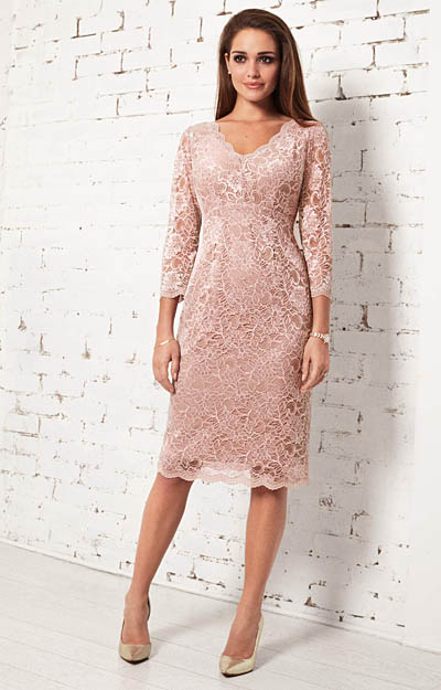 Anya Lace Occasion Dress (Blush) by Alie Street London