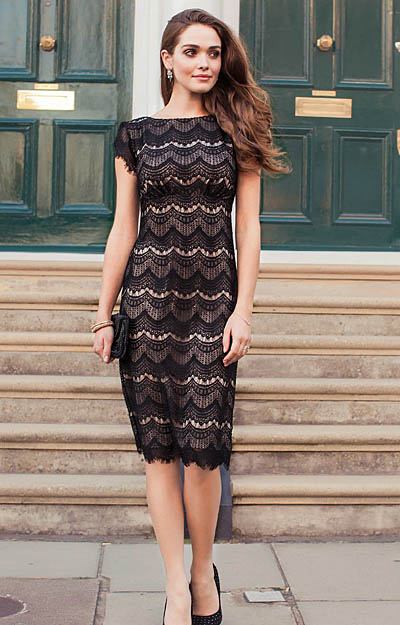 Astrid Evening Shift Dress Black Dusk by Alie Street London