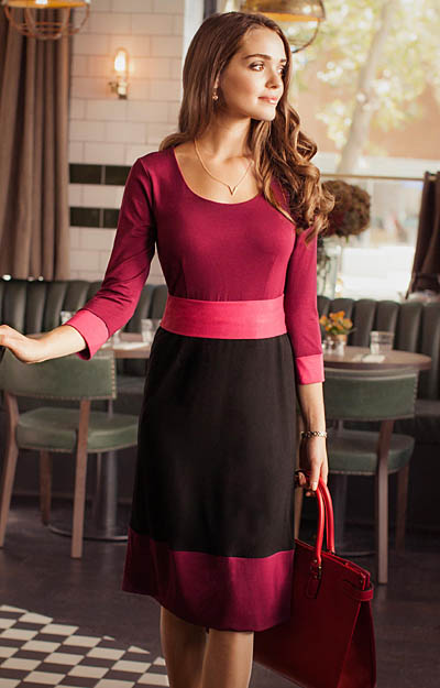 Colour Block Day Dress Berry by Tiffany Rose