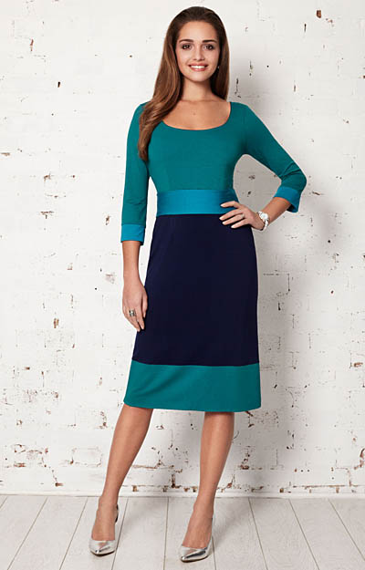 Colour Block Day Dress Marine by Alie Street London