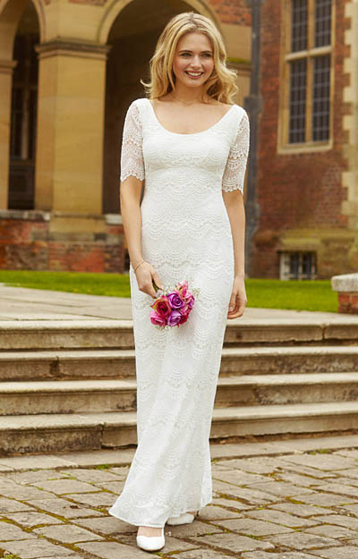 Claudia Lace Wedding Gown Bright Ivory by Alie Street London
