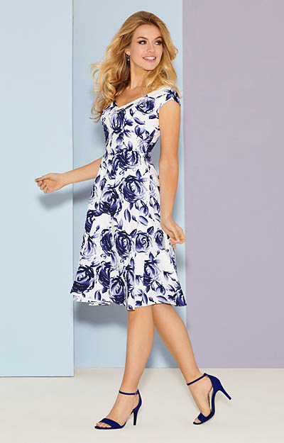 Fleur Swing Dress Short Ink Blue by Tiffany Rose