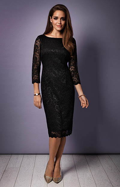 Katherine Lace Occasion Dress (Black) by Tiffany Rose