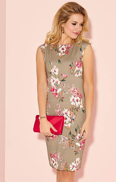 Pippa Shift Day Dress Floral Olive by Alie Street London