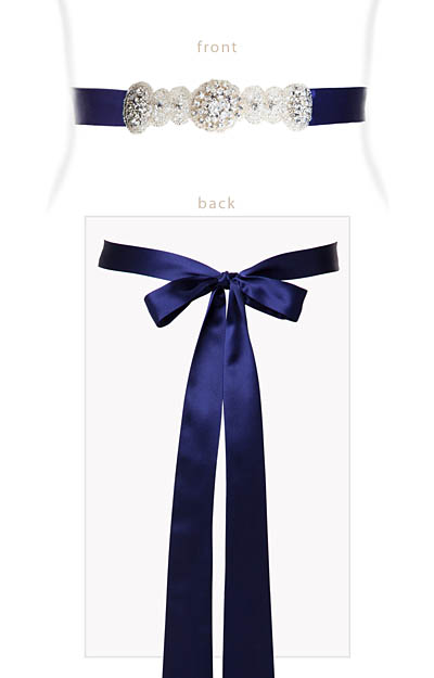 Aurelia Vintage Ribbon Sash Eclipse Blue by Alie Street London