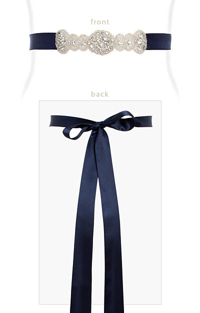 Aurelia Vintage Sash (Midnight Blue) by Alie Street London