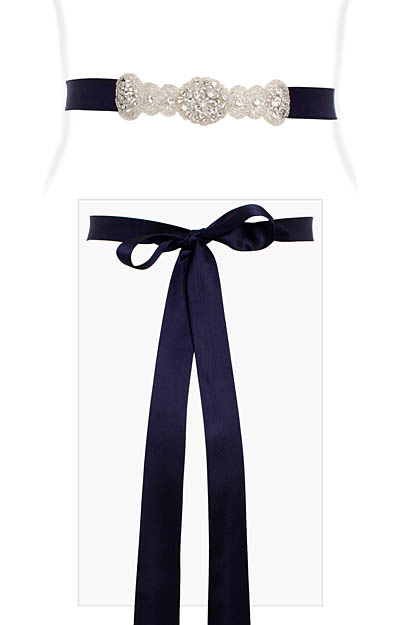 Aurelia Vintage Diamante Sash Regal Blue by Alie Street London