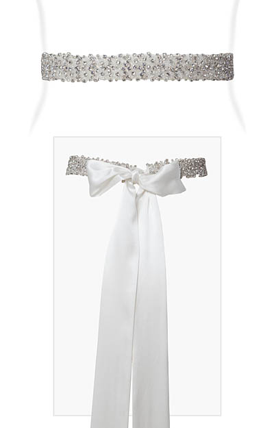 Crystal Beaded Sash Ivory Silk by Tiffany Rose