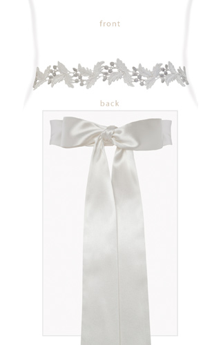 Grecian Embroidered Sash Silver/Ivory by Tiffany Rose
