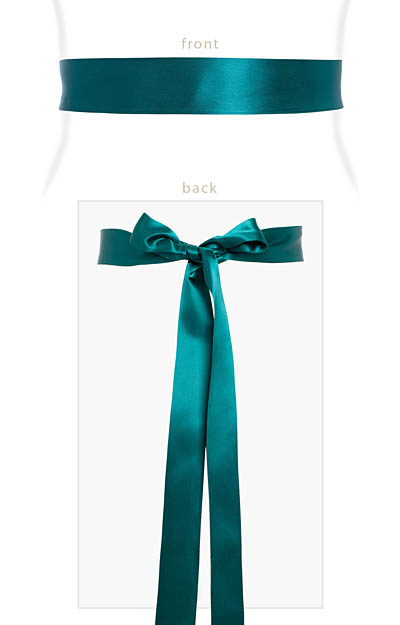 Smooth Satin Sash Slim Dark Teal by Alie Street London