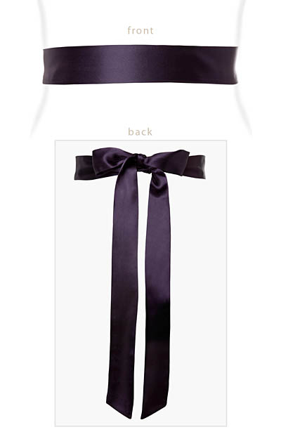 Smooth Satin Sash Slim Blackberr by Alie Street London