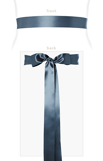 Smooth Satin Sash Slim Lagoon Blue by Tiffany Rose