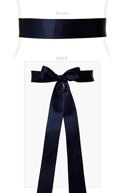 Smooth Satin Sash Slim Midnight Blue by Tiffany Rose