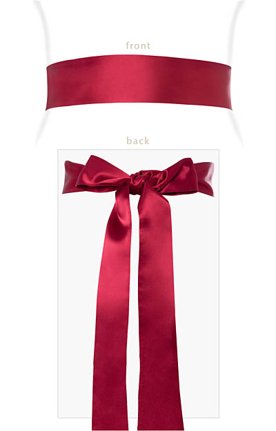 Smooth Satin Sash Long Deep Raspberry by Alie Street London