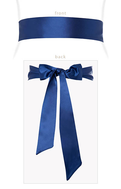 Smooth Satin Sash French Blue by Alie Street London
