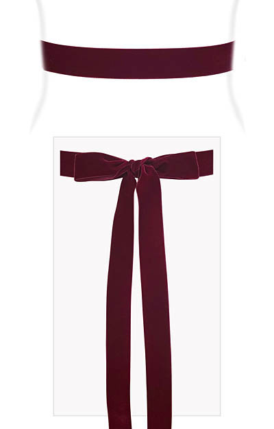 Velvet Ribbon Sash Burgundy by Alie Street London