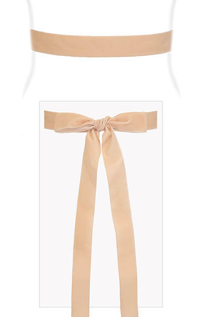 Velvet Ribbon Sash Pale Peach by Alie Street London