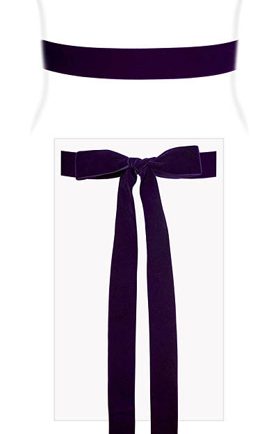 Velvet Ribbon Sash Purple by Alie Street London