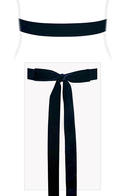 Velvet Ribbon Sash Rich Navy by Alie Street London
