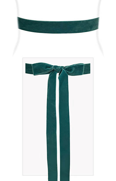 Velvet Ribbon Sash Teal Green by Alie Street London
