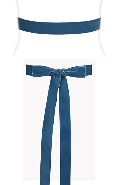 Velvet Ribbon Sash Williamsburg Blue by Alie Street London