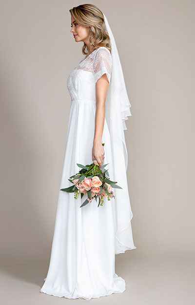 Silk Wedding Veil Long (Ivory White) by Alie Street London