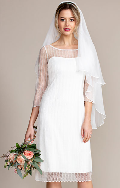 Silk Wedding Veil Short (Ivory White) by Alie Street London