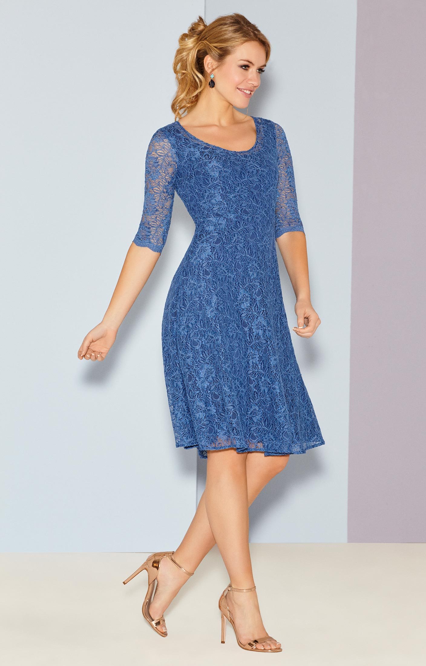Arabella Dress Short Riviera Blue - Wedding Dresses, Evening Wear ...