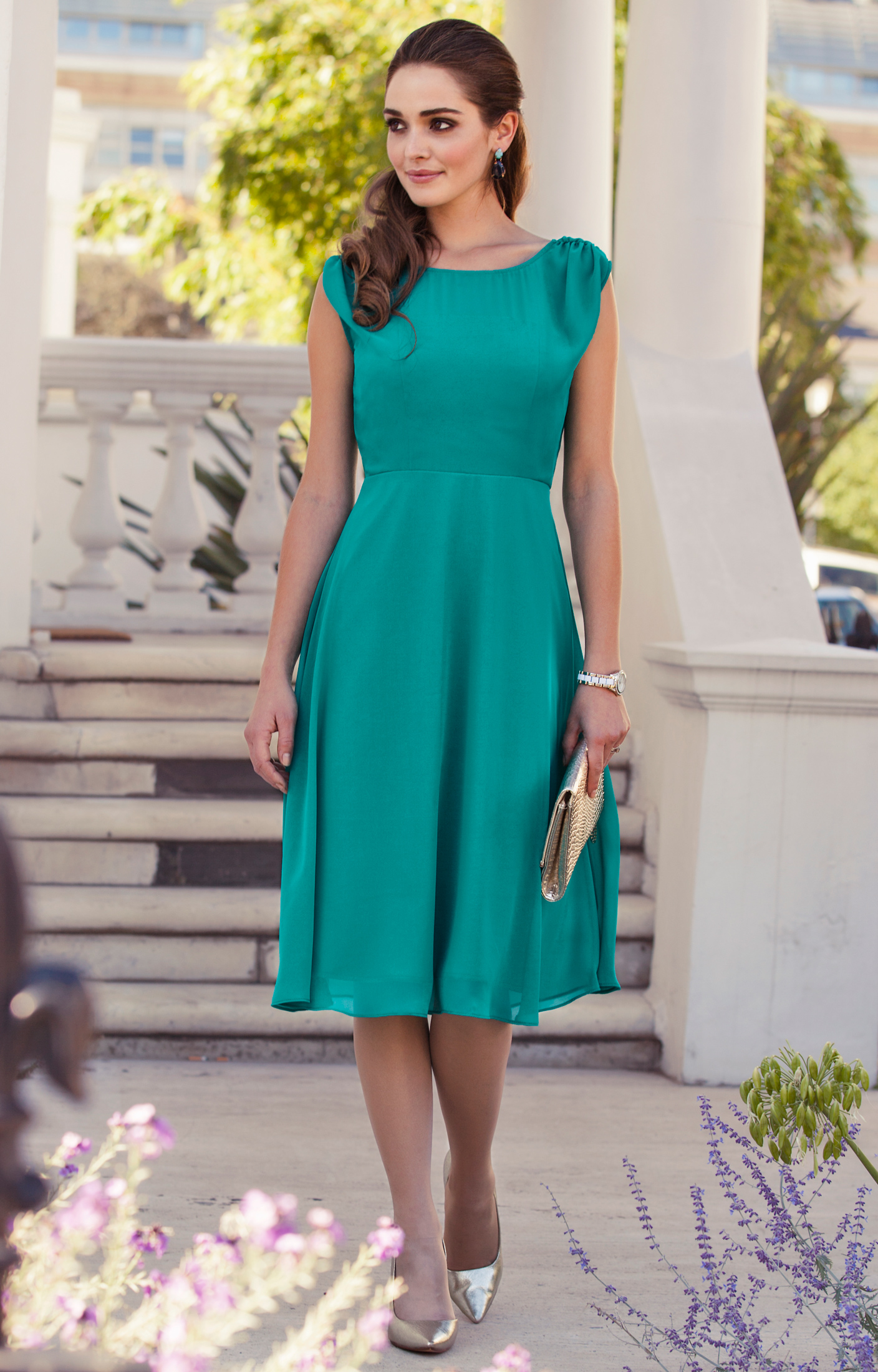 Cici Midi Evening Gown Viridian Green by Alie Street
